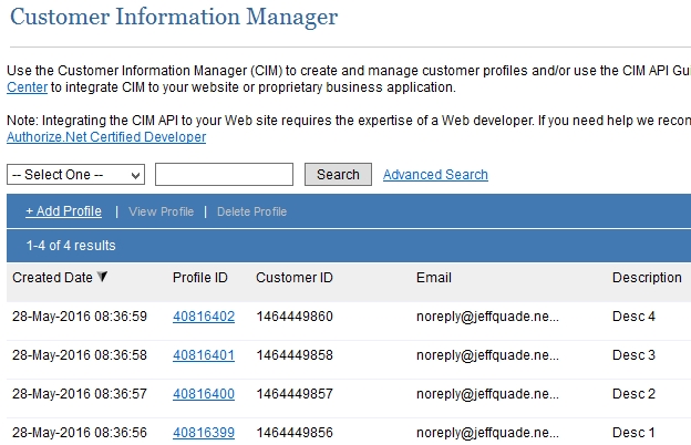 Authorize.net CIM Profiles